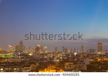 Building skyscrapers of Bangkok at dusk Building at dusk in the city of Bangkok and home. - stock photo