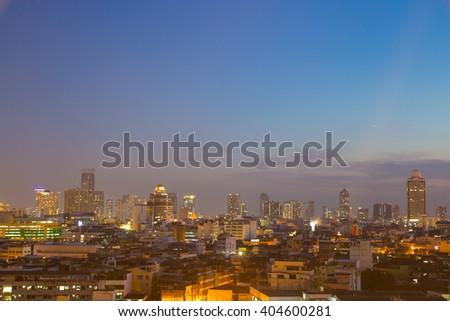Building skyscrapers of Bangkok at dusk Building at dusk in the city of Bangkok and home. - stock photo