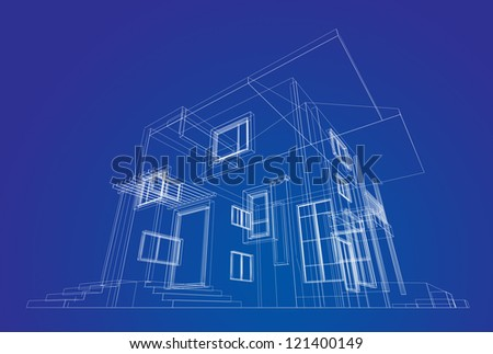 Building structure. High quality 3d render - stock photo