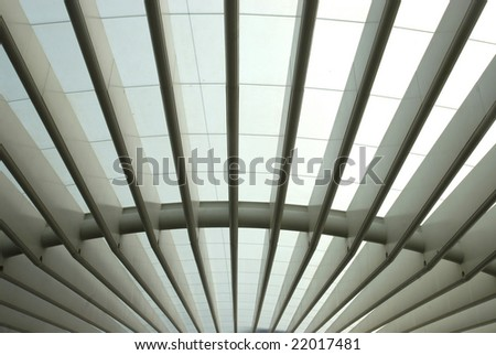 Building structure in Lisbon's Nations park train station - stock photo