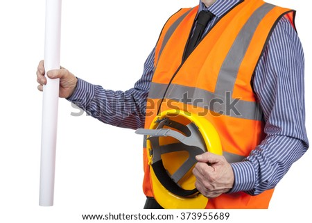 Building Surveyor in orange visibility vest holding drawings and helmet isolated on a white background