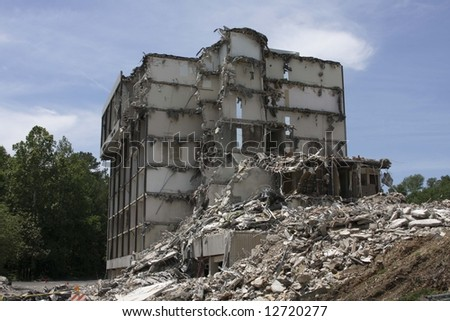 Building that has been destroyed - stock photo