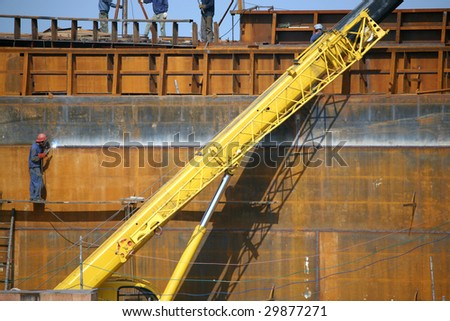 Building the dry cargo sea-river going vessels. - stock photo