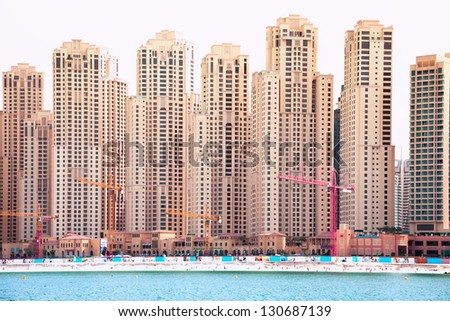 Building the modern appartments in Dubai marina - stock photo