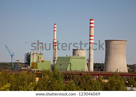 Building the new thermal powerplant - stock photo