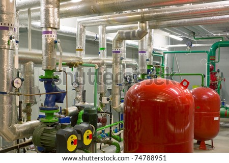 Building thermal knot in the underground room - stock photo
