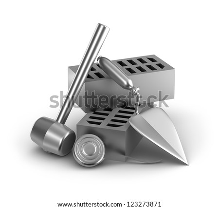 Building tools: hammer, tape measure, trowel and bricks - stock photo