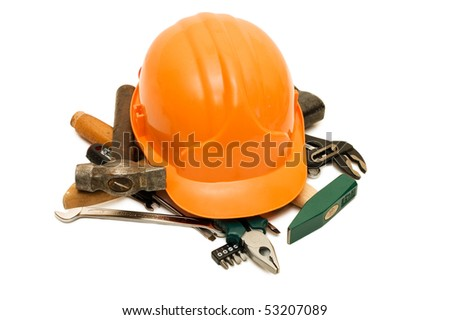 Building tools isolated on white background