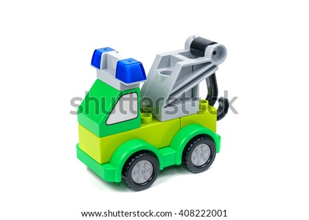 building truck on a white background