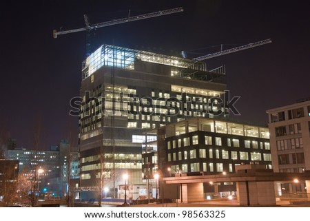 Building Under Construction in Montreal (Night Scene)