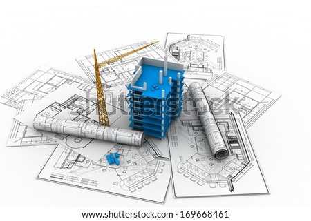 Building under construction in perspective. - stock photo