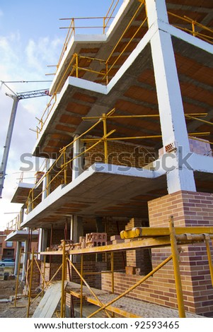 building under construction in perspective, spain - stock photo