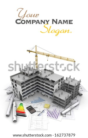 Building under construction with crane, on top of blueprints, mortgage applications and energy rating - stock photo