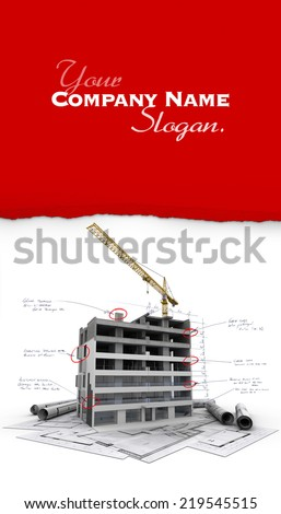 Building under construction with technical notes on top of blueprints - stock photo