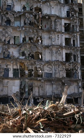 building under demolition background - stock photo