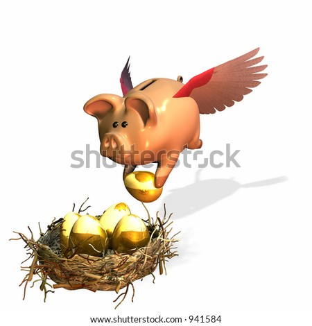 Building up your nest eggs. Bank and investing adding to your future. - stock photo