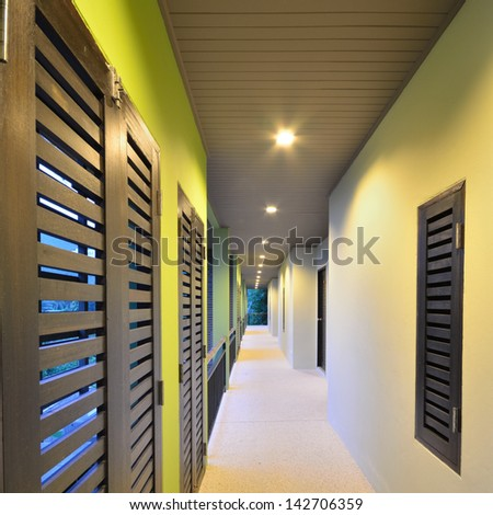 Building walkway in modern style. - stock photo