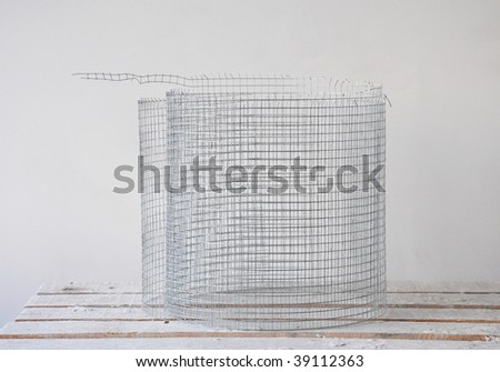 building wired net in unfinished interior - stock photo