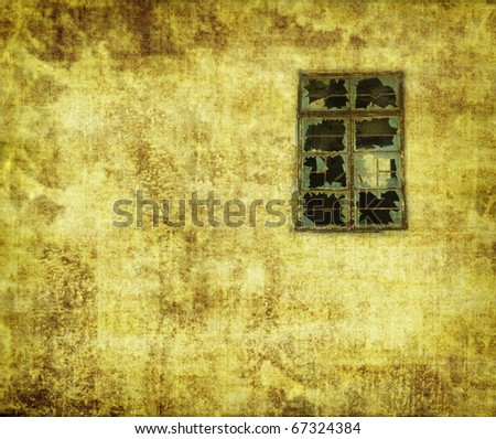 building with broken windows on Grunge Abstract Background - stock photo