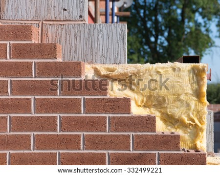 building with cavity wall insulation - stock photo