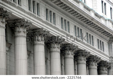 Building with columns in downtown Montreal, Canada - stock photo