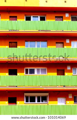 Building with many balconies - stock photo