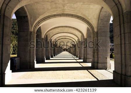 Building with many columns - stock photo