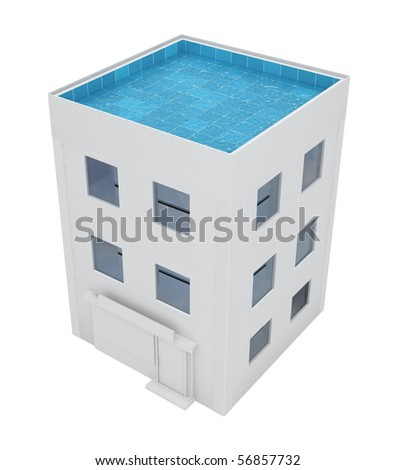Building with swimming pool roof, over white, isolated - stock photo