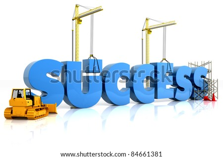 Building your success, building SUCCESS word, representing business development. - stock photo