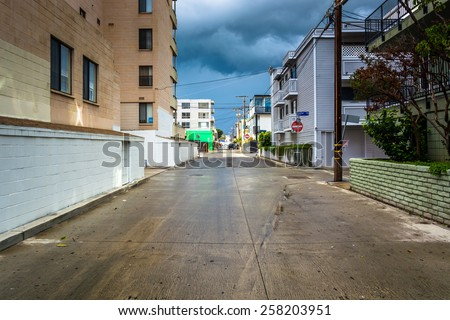 Buildings along a street in Venice Beach, Los Angeles, California. - stock photo