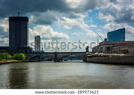 Buildings along the Schuylkill River in Philadelphia, Pennsylvania. - stock photo