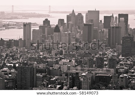 Buildings and City Skyline of a huge Metropolis, vintage monochrome - stock photo