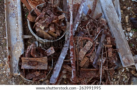 Buildings and construction garbage - stock photo