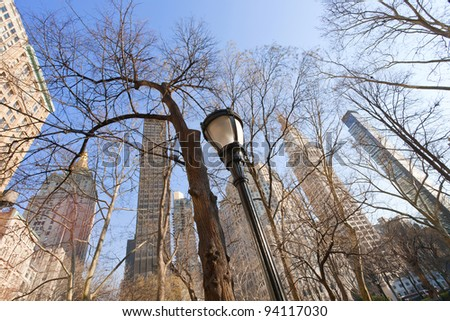 buildings and naked trees in New York - stock photo