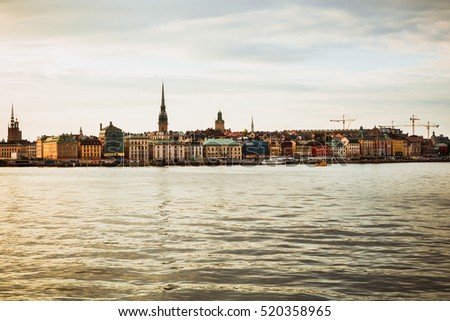 Buildings and panorama of the Old Town (Gamla Stan) architecture in Stockholm, Sweden