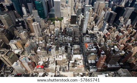 buildings and streets in a city - stock photo
