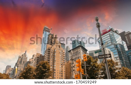 Buildings and trees of Columbus Circle on a summer day - New York City. - stock photo