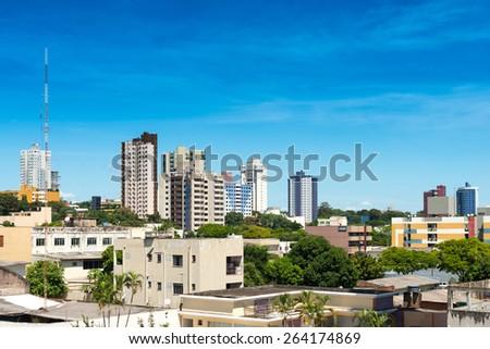 Buildings at downtown Foz do Iguazu, Brazil - stock photo