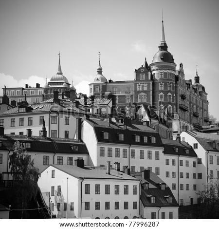 Buildings at mälarstrand in  Stockholm, Sweden - stock photo