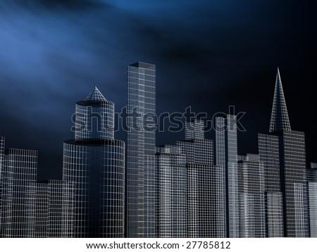 Buildings at nights illustration - stock photo