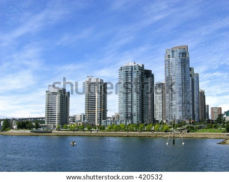 Buildings at the edge of waterbody