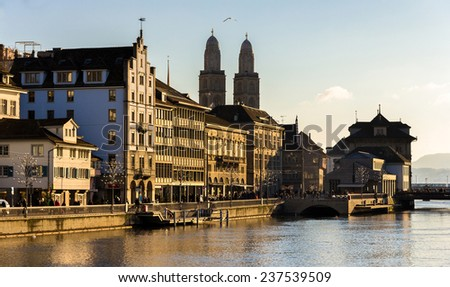 Buildings at the embankment of Zurich - Switzerland - stock photo