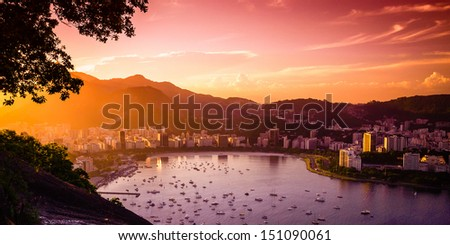 Buildings at the waterfront, Guanabara Bay, Rio De Janeiro, Brazil - stock photo