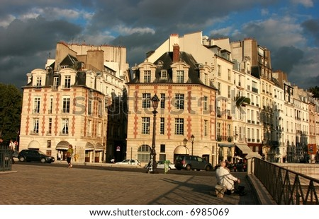"Buildings by sunset on ""Ile de la Cite"" in Paris, France"
