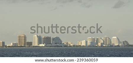 Buildings by the coast of Fort Lauderdale, Florida - stock photo