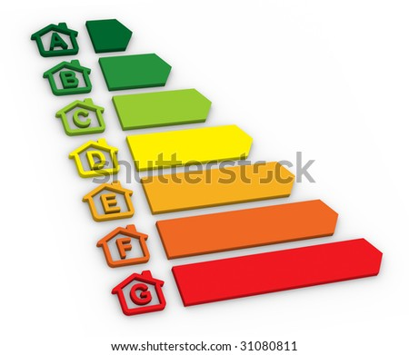 Buildings Energy Performance Scale - stock photo