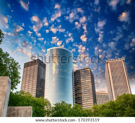 Buildings from World War II Merchant Marine Memorial Plaza, Lower Manhattan. - stock photo
