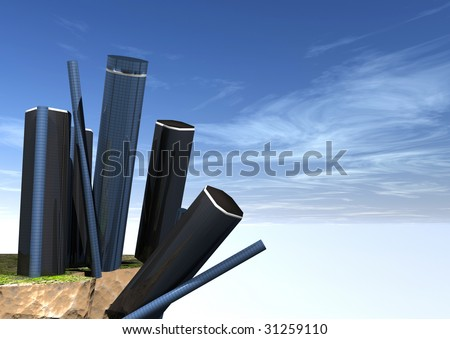 Buildings going over a cliff - stock photo