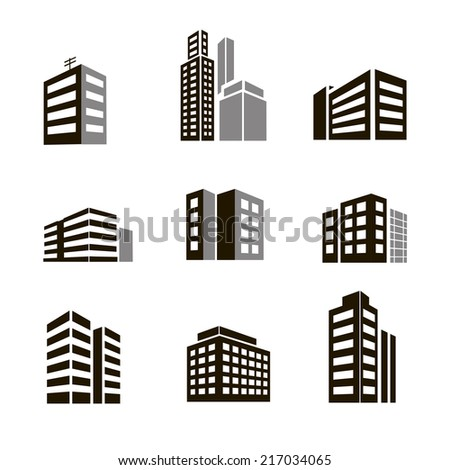 Buildings icons  illustrctration on white background - stock photo