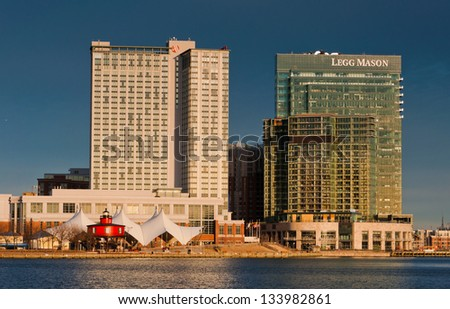 Buildings in Baltimore, Maryland, seen from the Inner Harbor - stock photo